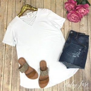 White Casual Criss Cross Top