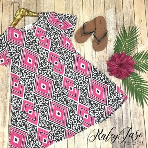 Pink/Black Geo Design Dress