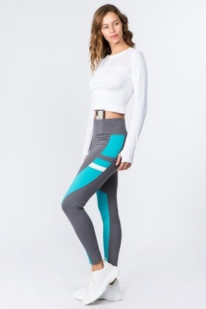 Charcoal/Teal Colorblock Workout Leggings