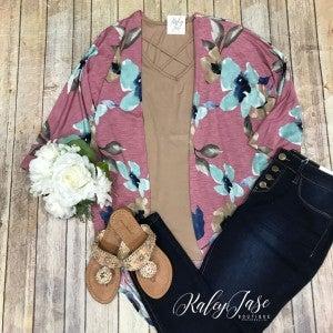 Mauve/Mint Floral Cardigan Set