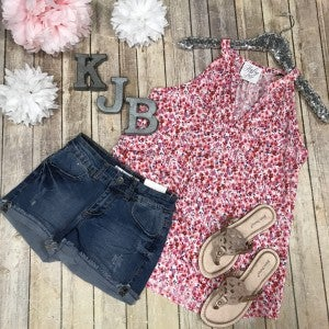 Red/Pink Floral Sleeveless Tank