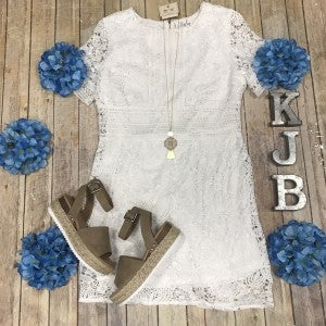 Ivory Short Sleeve Crochet Accented Dress
