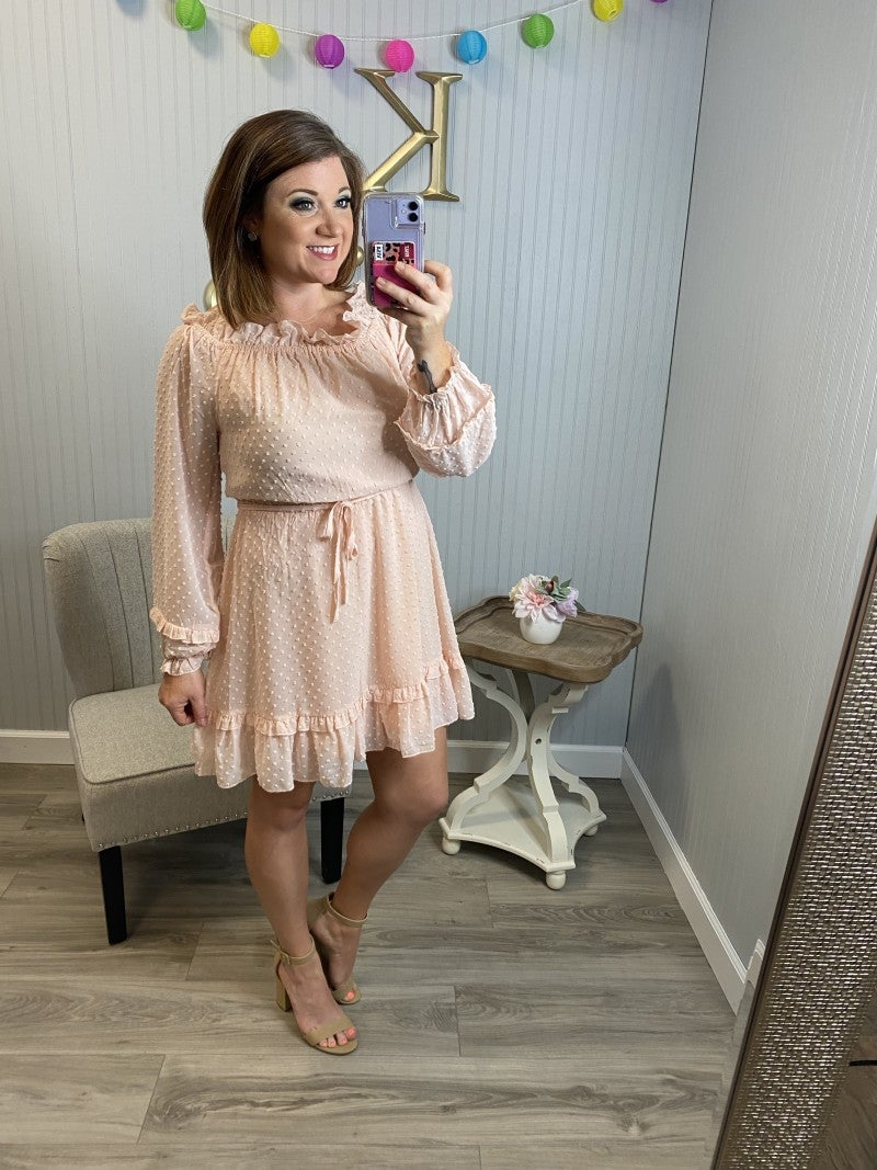 Ruched Dotted Off Shoulder Dress