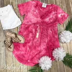 Soft Fuchsia Tie Dye Babydoll Top