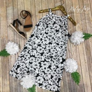 Black/White Floral Print Keyhole Dress