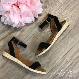 Black Flat Ankle Strap Sandals