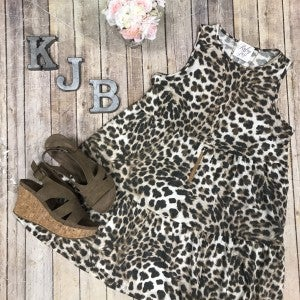 Leopard Tiered  Sleeveless Dress