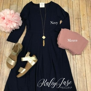 Pleated 3/4 Sleeve Dress