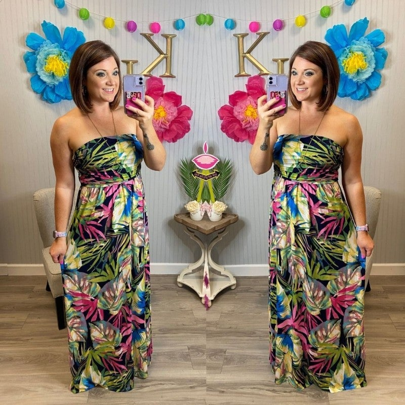Tropical Strapless Maxi