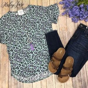 Sage Lavender Leopard Ruffle Sleeve