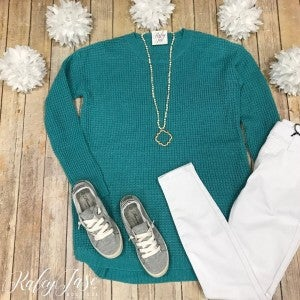 Z Teal Waffle Knit Sweater