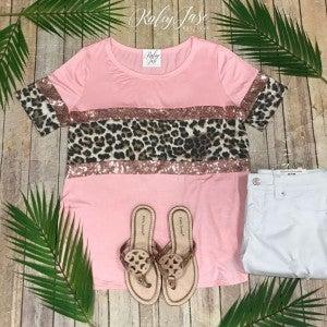 Blush Colorblock Sequin Leopard Top