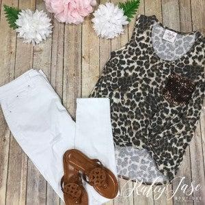 Animal Print Sequin Tie Top