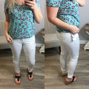 WBB White Distressed Full Length Jeans
