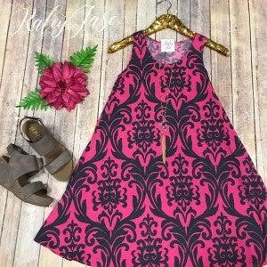 Pink & Charcoal Damask Dress