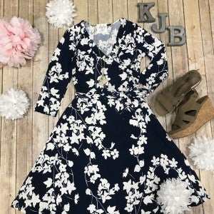John 3:16 Navy/Ivory Floral Wrap Dress