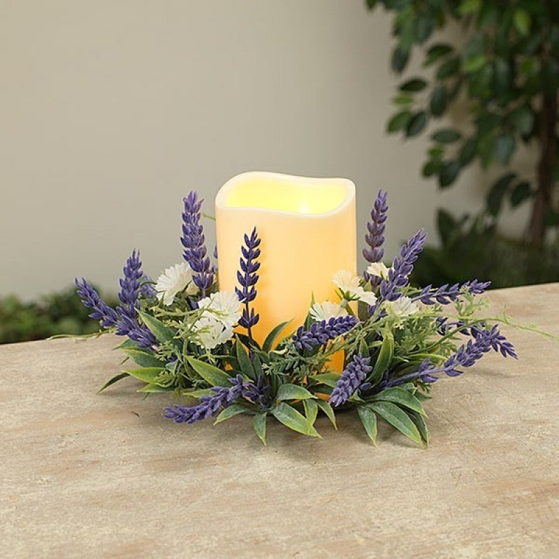"7"" Lavender Candle Ring W LED Candle"