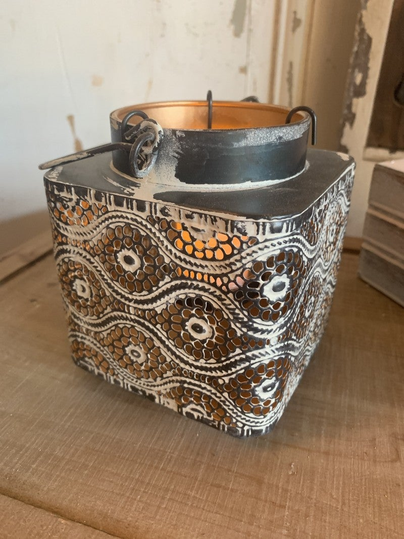 Metal Lantern With Tea Light Holder