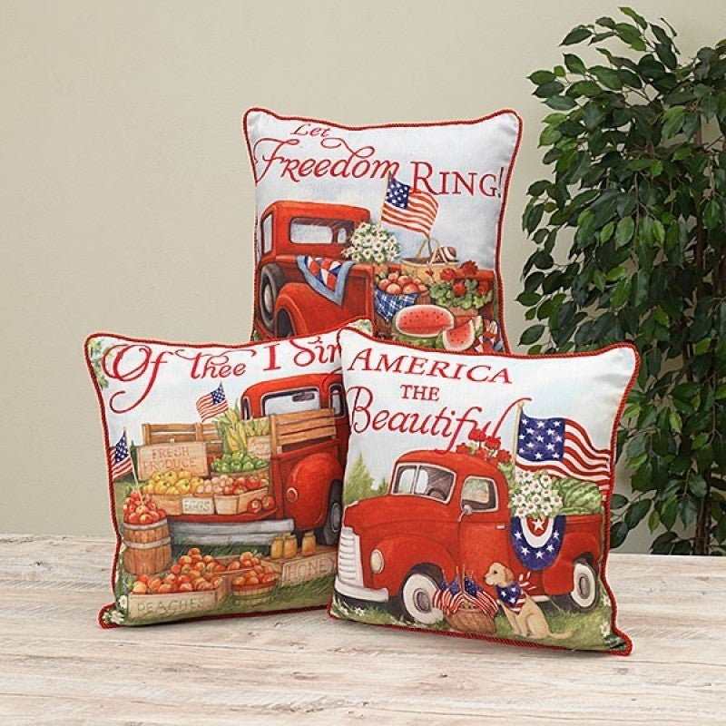 "16"" Fabric Americana Truck Pillow"