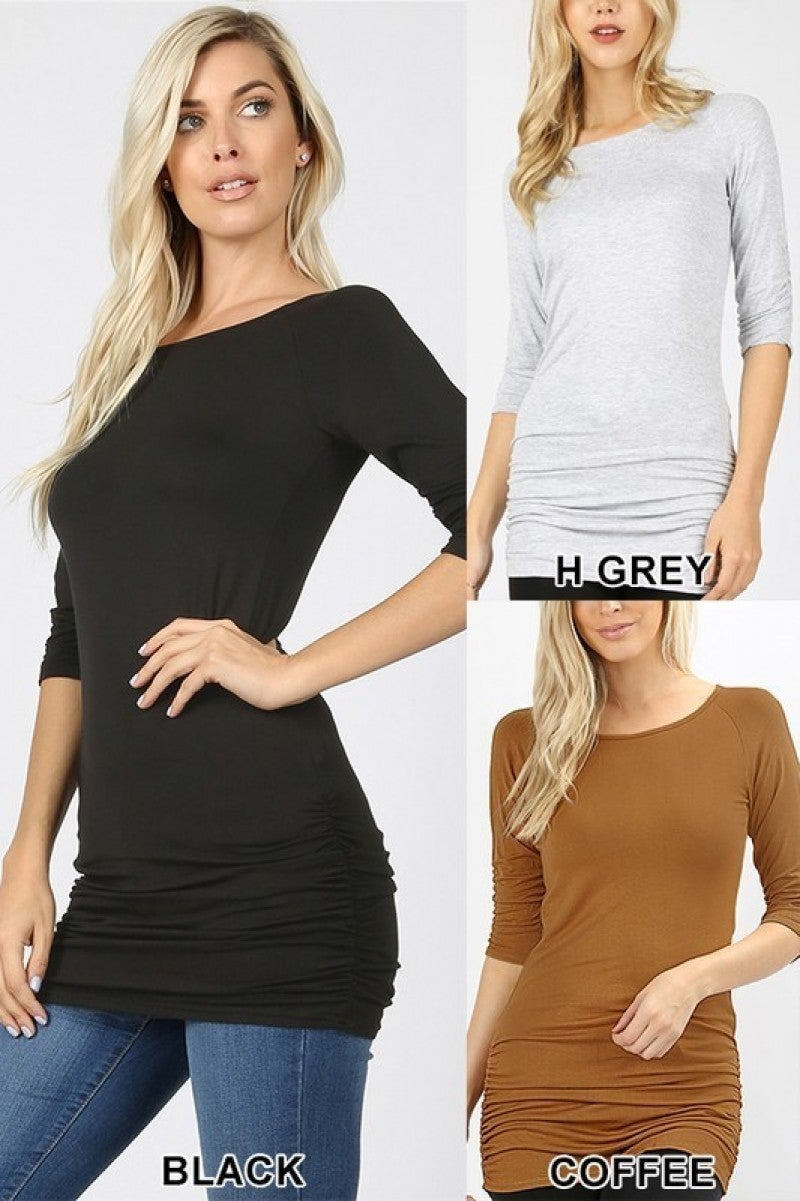 3/4 Sleeve Tunic With Shirring Detail