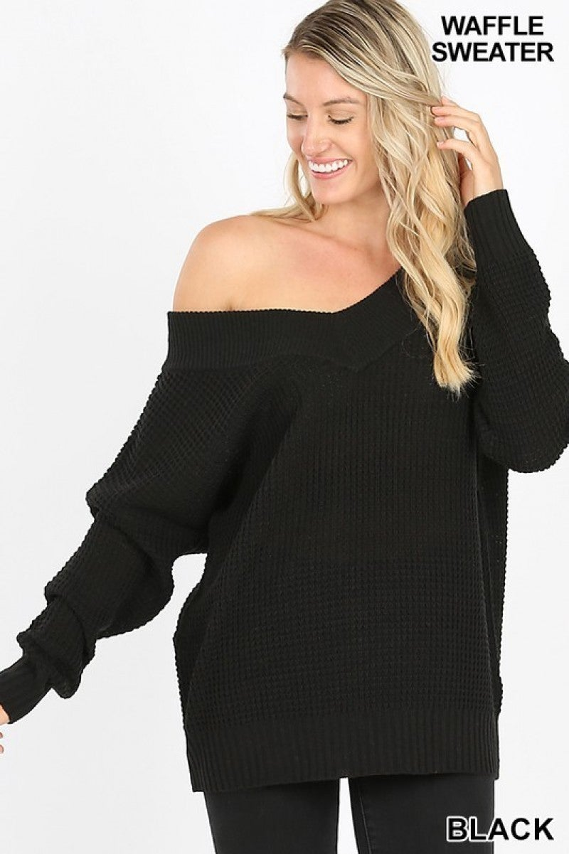 Long Sleeve Wide Double V-Neck Waffle Sweater