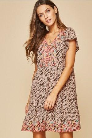 Mocha Leopard Embroidered Dress