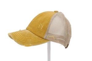Washed Denim Criss Cross High Pony CC Ball Hat 2.0