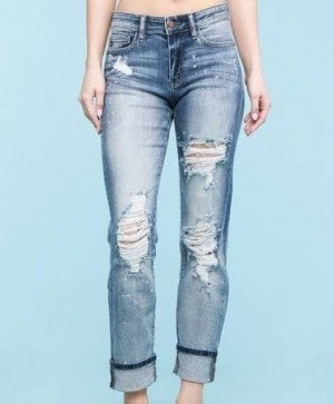 Bleach Splatter Dark Wash Boyfriend Jeans