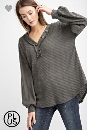 Waffle Knit Button Bubble Sleeve Top *Final Sale*