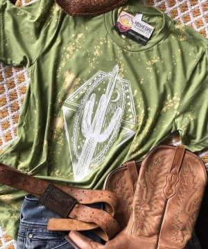 Midnight Cactus Bleached Tee