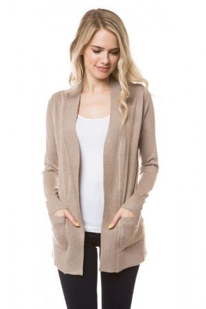 Cream Open Front Cardigan