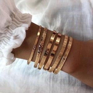 Gold Love Cuff Bracelet Stack