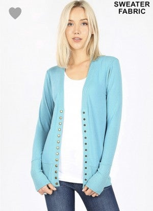 Mint Snap Button Front Cardigan