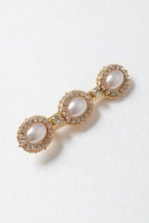 Gold Three Pearl Classic Hinged Barrette