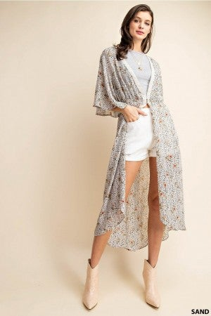 Rose and Leopard Chiffon Kimono