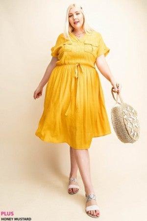 Waist String Shirt Dress