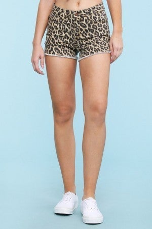 Leopard Cut Off Shorts