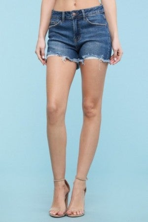 Fringed Distressed Cut Off Jeans