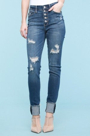 Judy Blue Destroyed Button Fly Mom Jeans High Rise