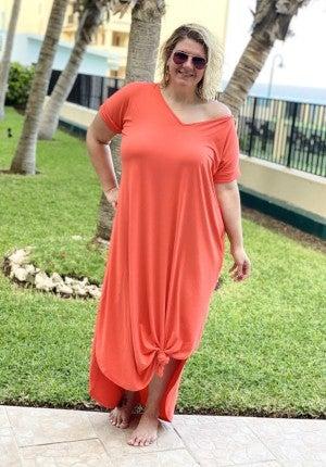 Vneck Jersey Dress Rolled Short Sleeve