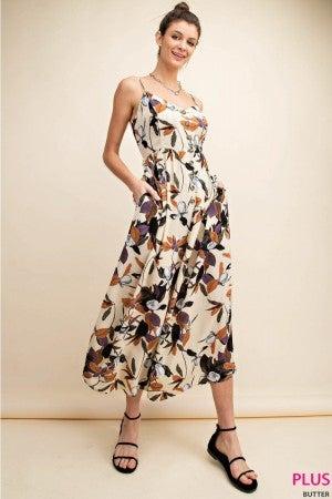 Floral High Waisted Midi Jumpsuit