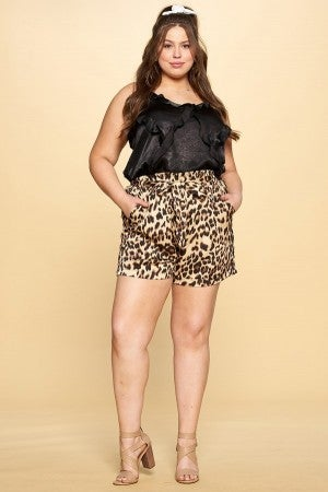 Leopard Satin Shorts