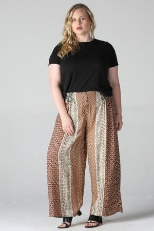 Smocked Button Waist Wide Leg Pants