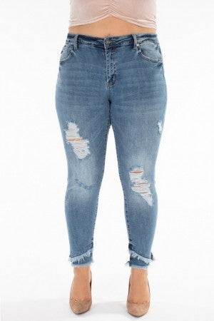 KanCan Lower Rise Ankle Skinny Frayed Jeans