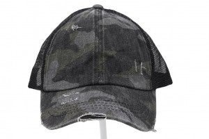 Distressed Camouflage Criss-Cross High Ponytail CC Ball Cap