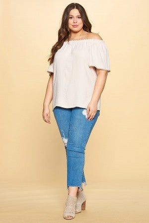 Ribbon Back Off The Shoulder Blouse