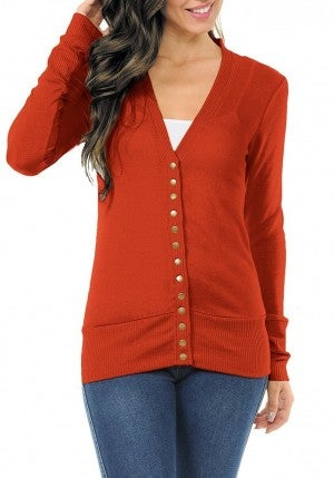 Copper Button Front Snap Cardigan