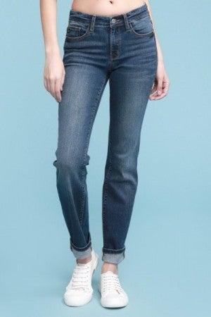 Dark Cuff Straight Leg Jeans