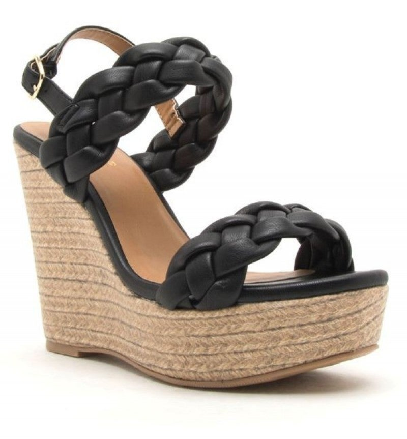 Black Braided Wedge Sandal