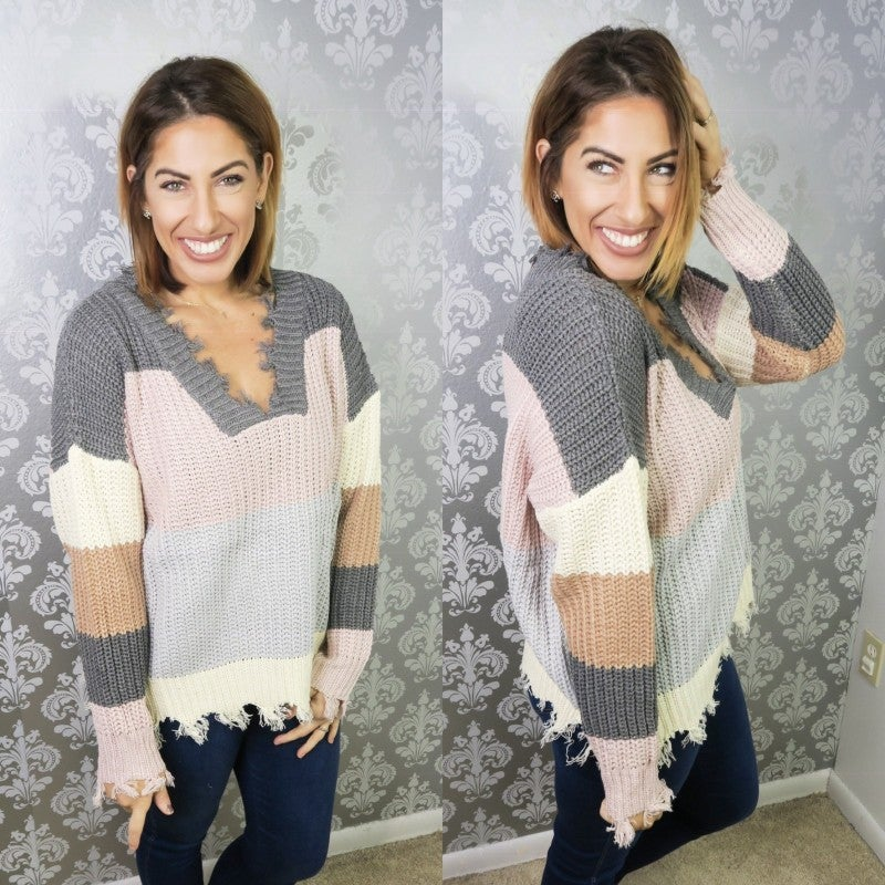 Color My Day Distressed Sweater